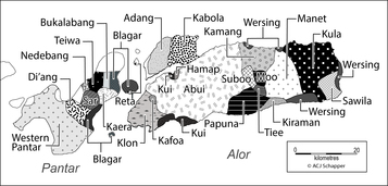 Map of Papuan languages of Alor and Pantar